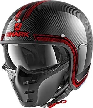 Shark he2710dur casco Moto, cromo/rojo, talla M