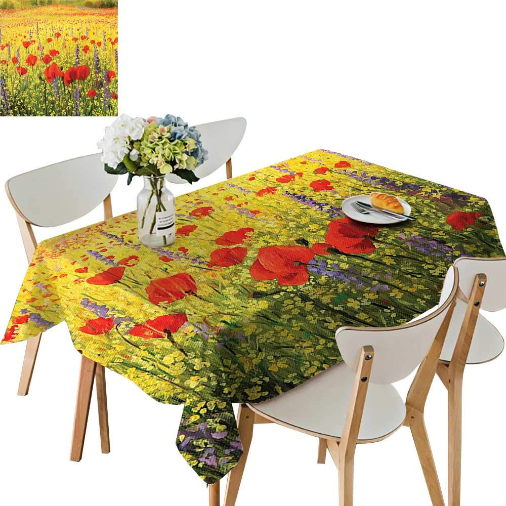 UHOO2018 Decorative Tablecloth A Colorful Field with Poppies Yellow Flowers and Lavendar Farmland Hills Scenery Square/Rectangle Kitchen Tablecloth Picnic Cloth,50x 50inch