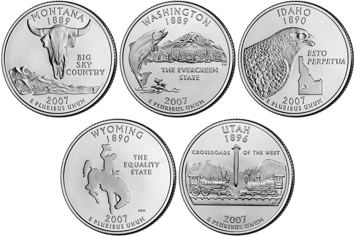 Mint Rolls. 2007 P+D Idaho State BU Washington Statehood Quarter Set ~ From U.S