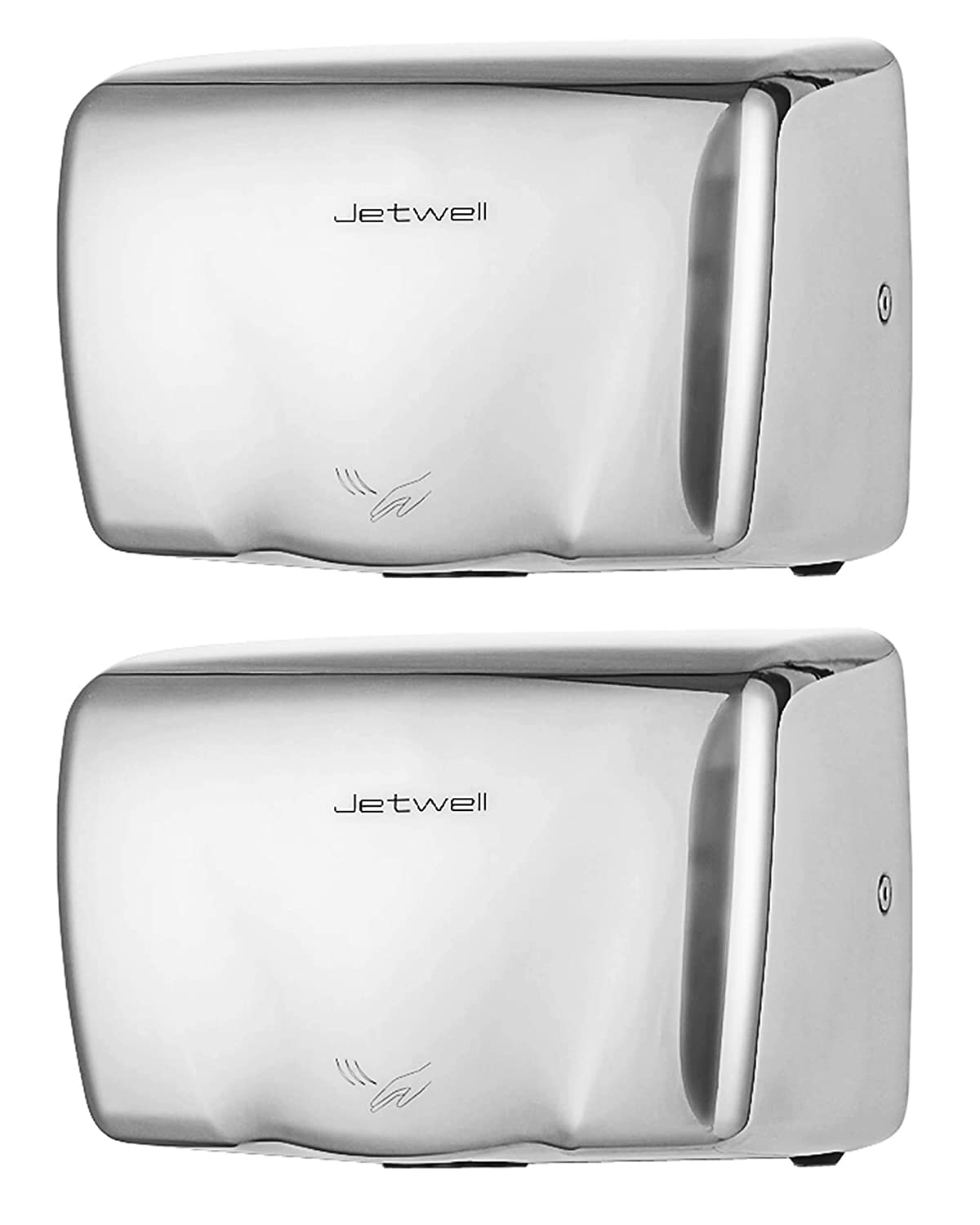 Jetwell (2 Pack) High Speed Commercial Automatic Hand Dryer - Heavy Duty Stainless Steel - Hot Air Hand Blower (Polished Stainless Steel)