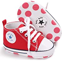 SOFMUO Antheron Baby Girls Boys Canvas Shoes Soft Sole Toddler First Walker Infant High-Top Ankle Sneakers Newborn Crib…