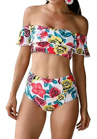dac8bfb5e4d5b MNLYBABY Women s Floral Printed Off Shoulder Flounce Swimsuit Two Piece  High Waist Bikini Set