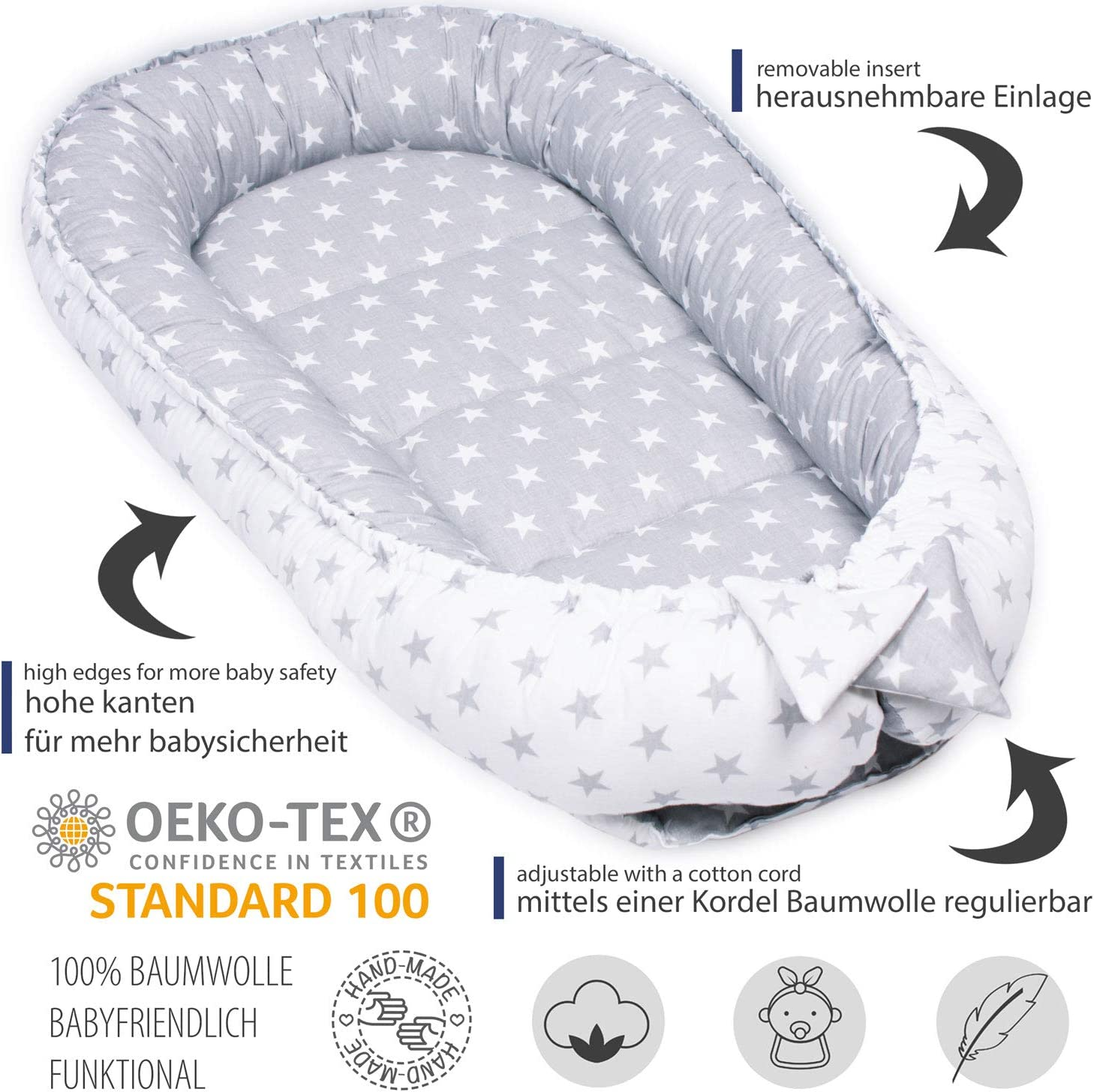 Cocoon Cot Hypoallergenic Palulli Baby Nest Travel Cot for Newborn 100/% Cotton Oeko-Tex Made in The EU Cot Multifunctional Cosy Nest with Soft Extra Mattress