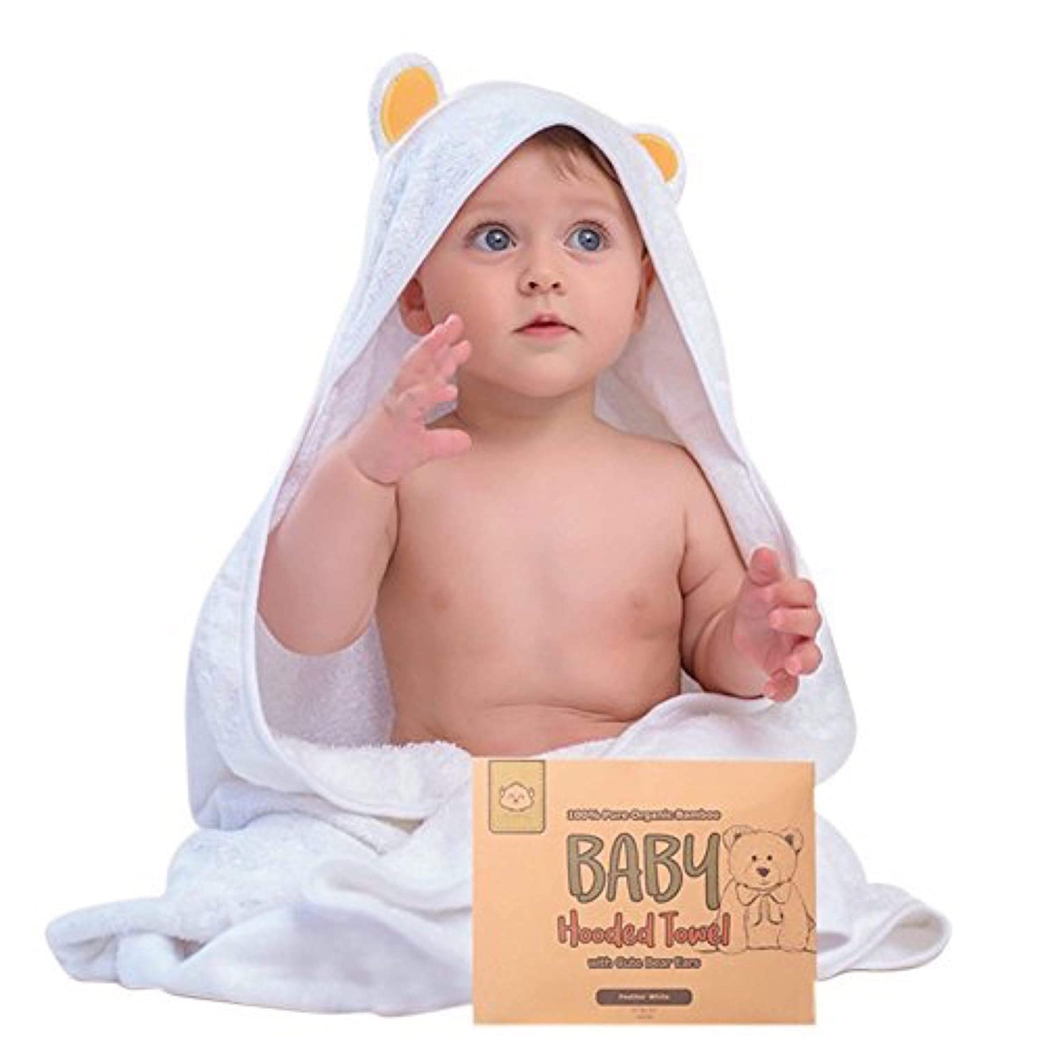 Baby Hooded Towel - Bamboo Baby Towel by KeaBabies - Organic Bamboo Towel - Infant Towels - Large Bamboo Hooded Towel - Baby Bath Towels with Hood for Girls, Babies, Newborn Boys, Toddler (Bear) FeatherWhite
