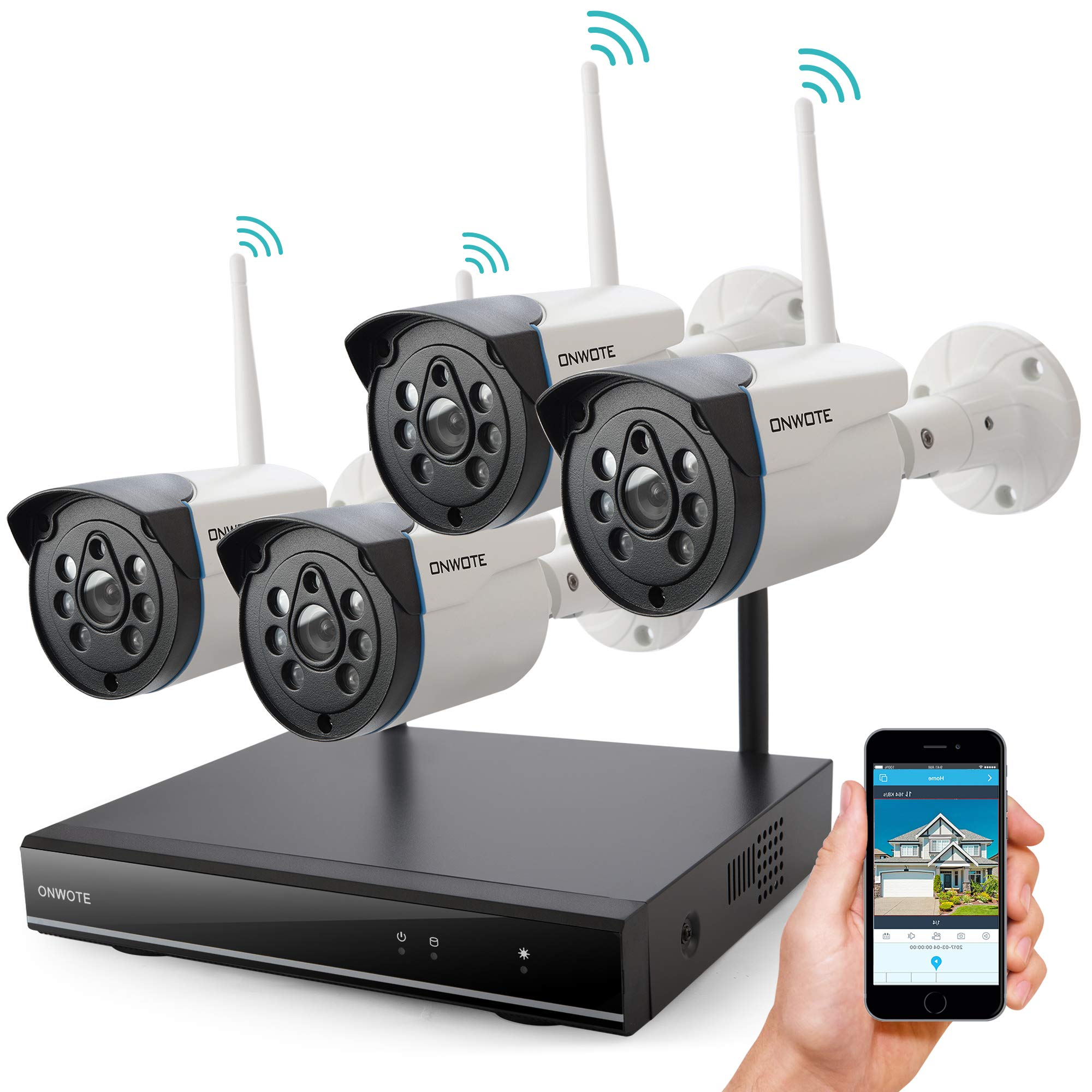 Wireless Security Camera System Outdoor, ONWOTE 1080P HD NVR, 4 960P HD 1.3MP Night Vision WiFi Surveillance Cameras for Home Security, NO Hard Drive (Built-in Router, Auto Pair, Mobile View) by ONWOTE