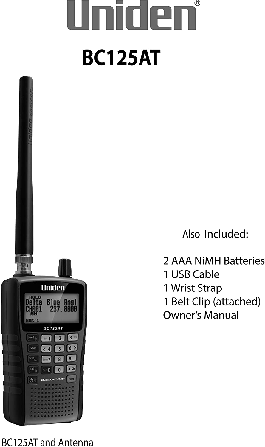 Public Safety Uniden Bearcat BC125AT Handheld Scanner and Auto Racing Scanner,/ Lightweight Portable Design Military Aircraft Police Marine Fire Emergency 500 Alpha-Tagged channels