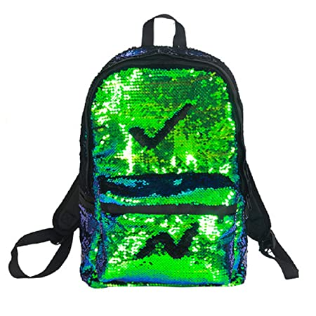 Magic Reversible Sequin School Backpack for Girls Sparkly Lightweight Travel Back pack