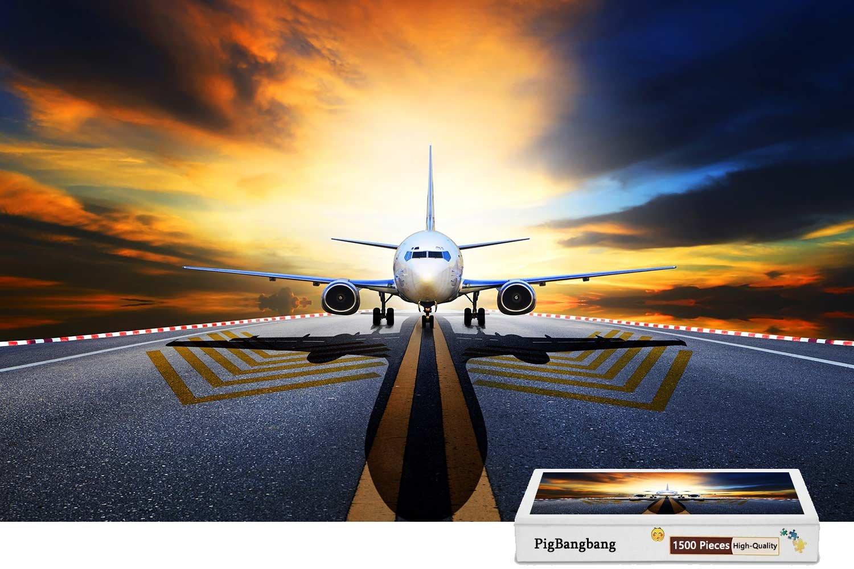 【激安大特価!】 pigbangbang、ハンドメイドintellectivゲームプレミアム木製DIY接着のJigsaw Nice Painting Painting – B07CMJXSMQ Passenger Nice PlaneフロントRunway Sunrise – 1500ピースジグソーパズル(34.4 X 22.6
