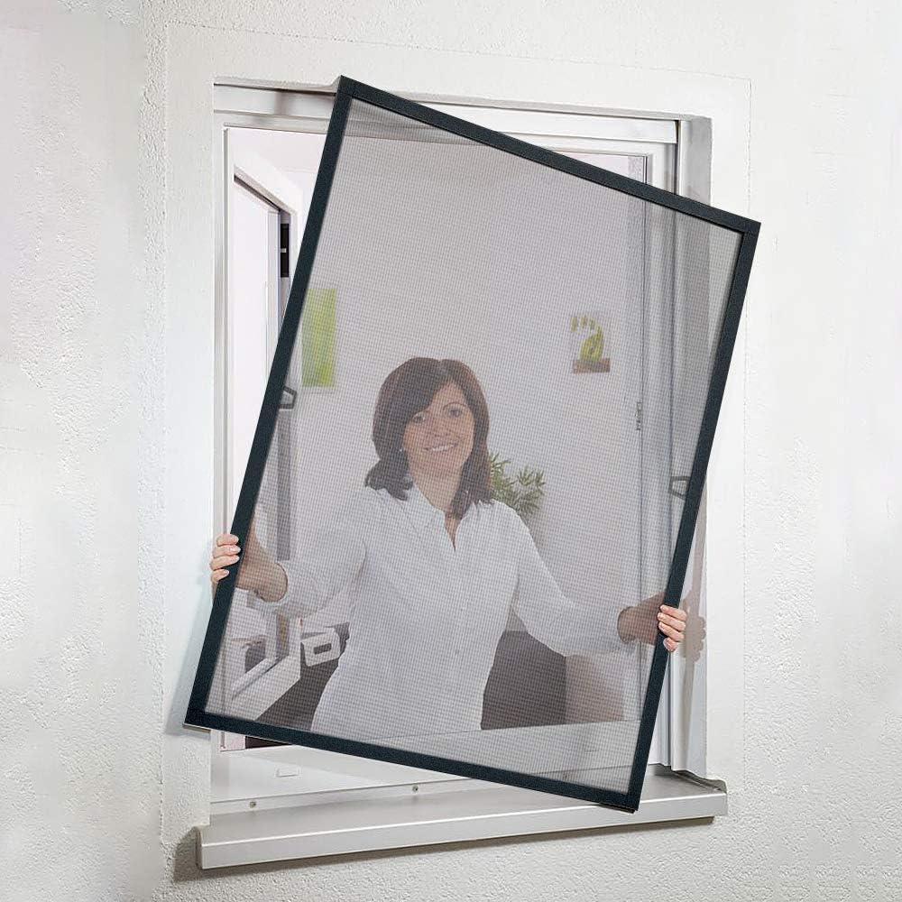 Blanco rejilla de aluminio y fibra de vidrio rejilla protectora contra insectos Aufun Mosquitera para ventana con marco tensor moscas y mosquitos