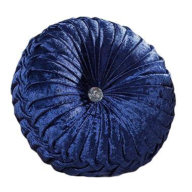 Zituop Home Decorative Round Pumpkin Throw Pillows, 13.8-inch (navy)