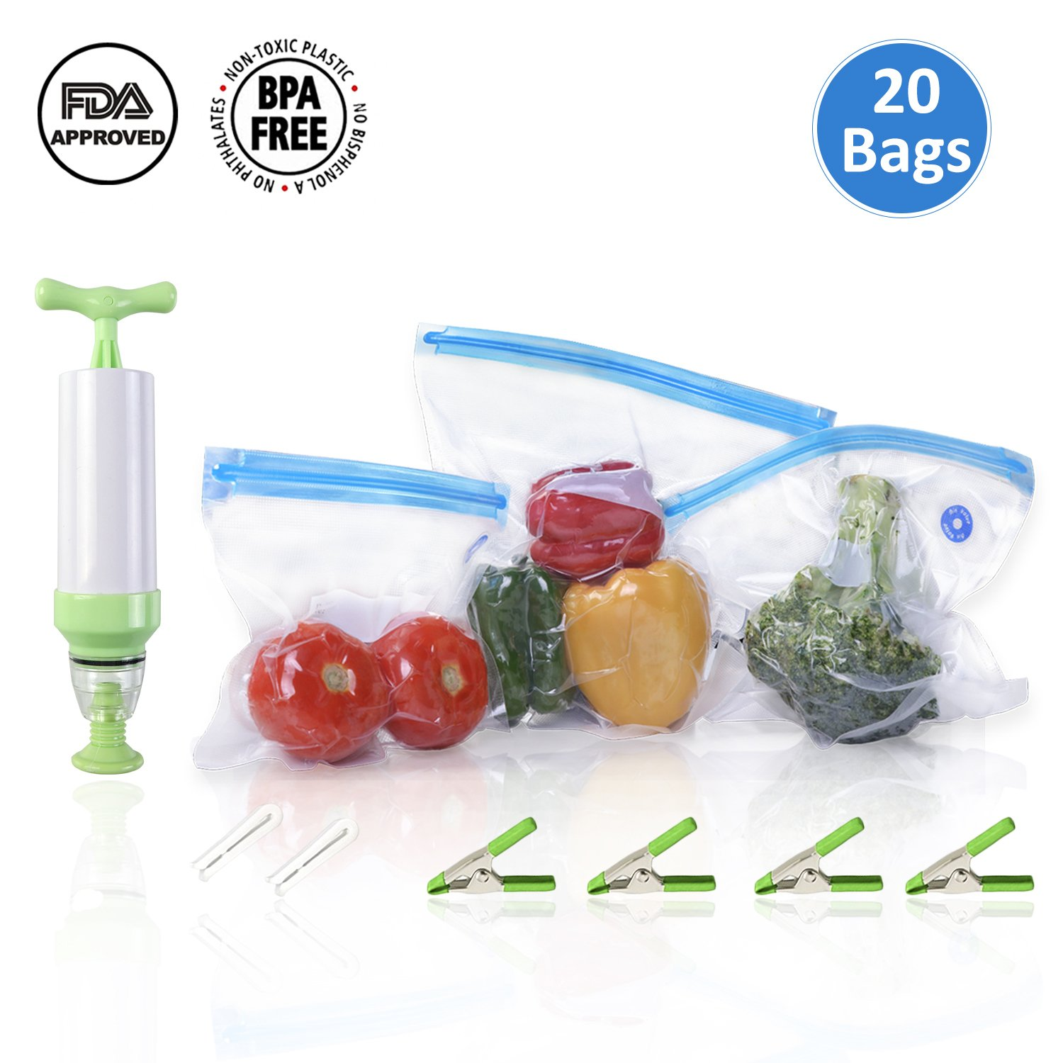 Lintat 20 BPA-free Reusable Sous Vide Bags Kit For Anova Joule Cookers With Handheld Vacuum Sealer 2 Bag Sealing Clips and 4 Sous Vide Clips (20 bags in two sizes+ pump)