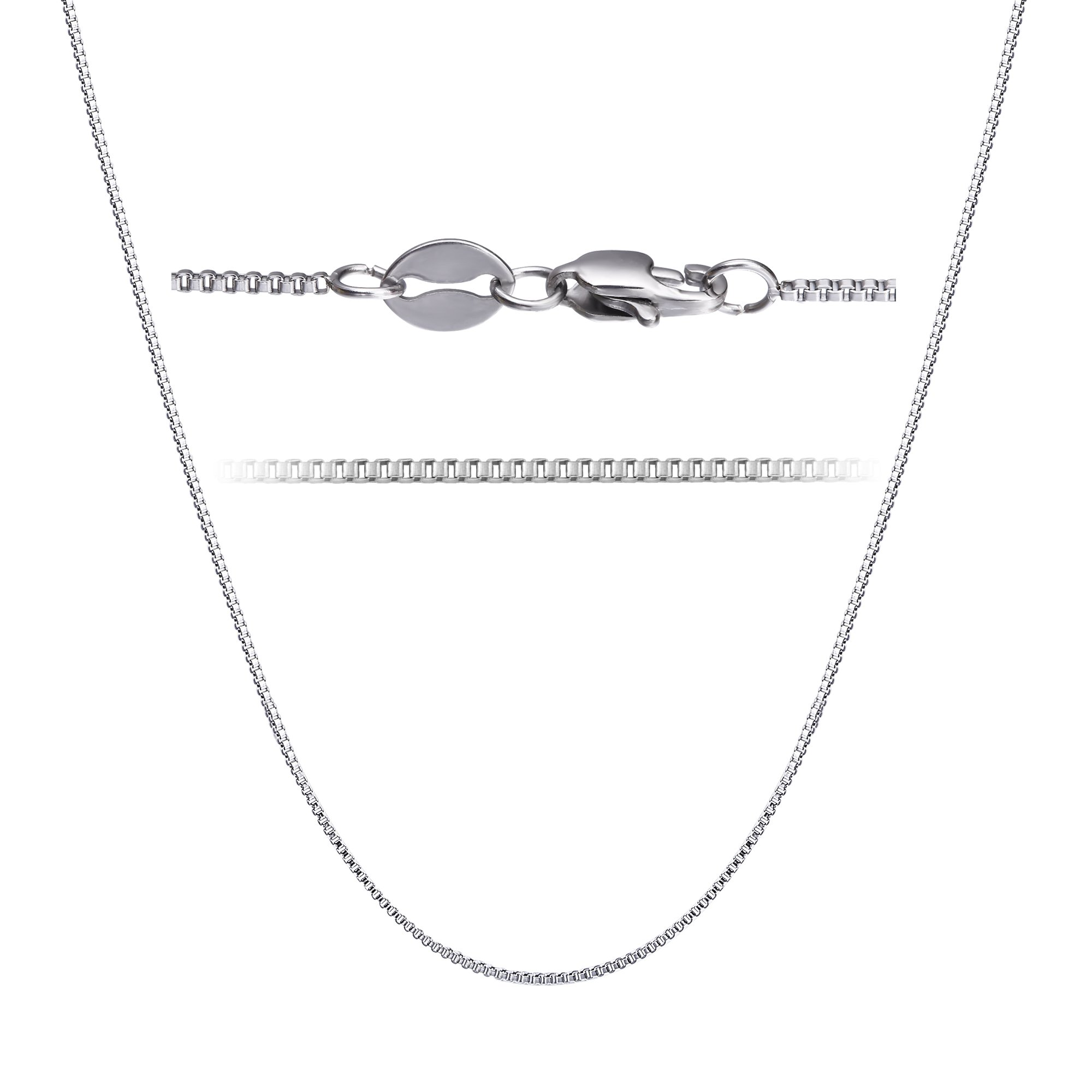 LOLIAS 2 Pcs Stainless Steel 1mm Round Snake Chain Box Chain Necklace Super Thin & Strong,30 Inch by LOLIAS (Image #4)