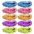 Freeas 10 PCS 5 Pares Plumero Fregona Zapatos Cubierta, Multi Función Chenille Fibra Lavable Polvo Fregona Zapatillas Piso Limpieza Zapatos para Baño, Oficina, Cocina, Casa Pulido Limpieza, (5)