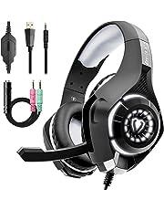Beexcellent Cascos Gaming Stereo con Micrófono con la Luz LED Bass Surround Soft Memory Earmuffs Cancelación de Ruido para PS4 Xbox One Laptop PC ( Versión actualizada )