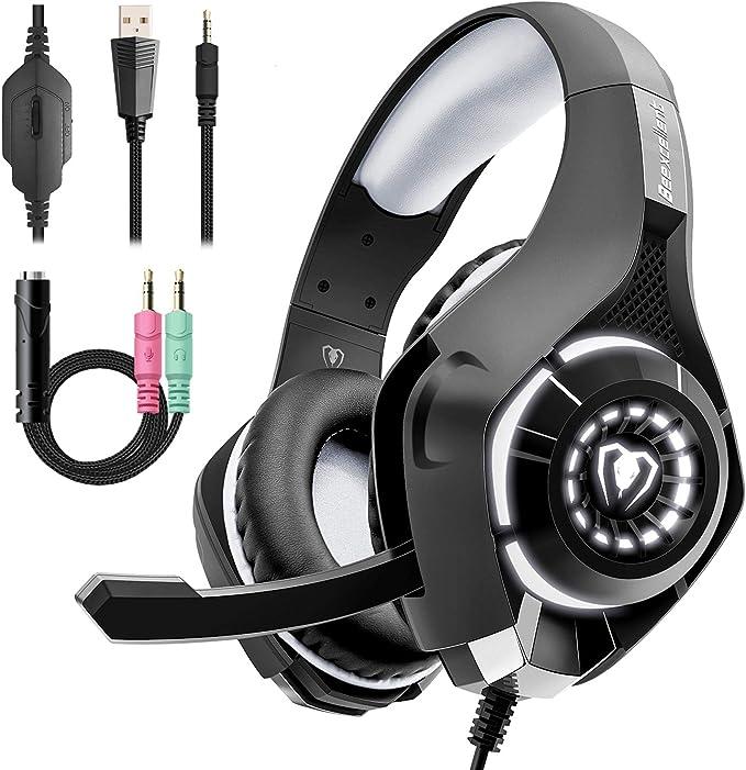 Beexcellent Cascos Gaming Stereo con Micrófono con la Luz LED Bass ...