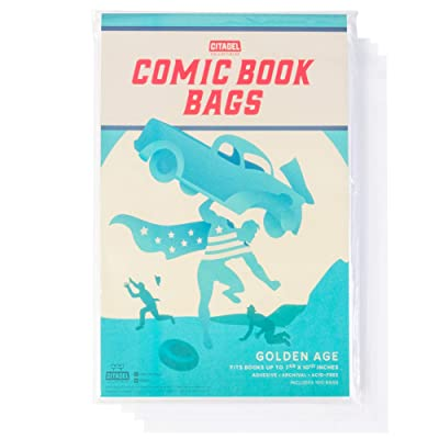 "Comic Book Cover Sleeves 100 Protective Bags - Fits Books Up to 7 5/8"" x 10 1/2"" - Archiving, Storage, Catalog, Cataloguing, and More - Acid-Free and Weathering Resistant - Resealable Adhesive Strip: Toys & Games"