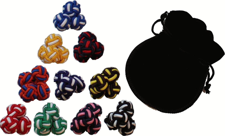 Gentleman 10 Paare hochwertige multicolor Seidenknoten Manschettenknöpfe CL01