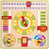 Zerodis Children Daily Cognitive Calendar Teaching Clock Hanging Board Wooden Early Education Puzzle Learning Toy, Time Date Season Weather
