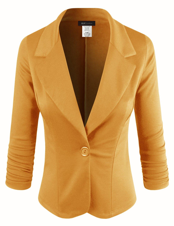 ELF FASHION Women Casual Work Knit Office Blazer Jacket Made in USA (Size S~3XL) MUSTARD1 3XL