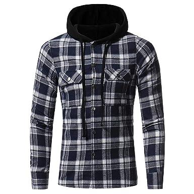 Logobeing Sudadera para Hombres, Camisa de Capucha con Capucha y Cuadros de Manga Larga para