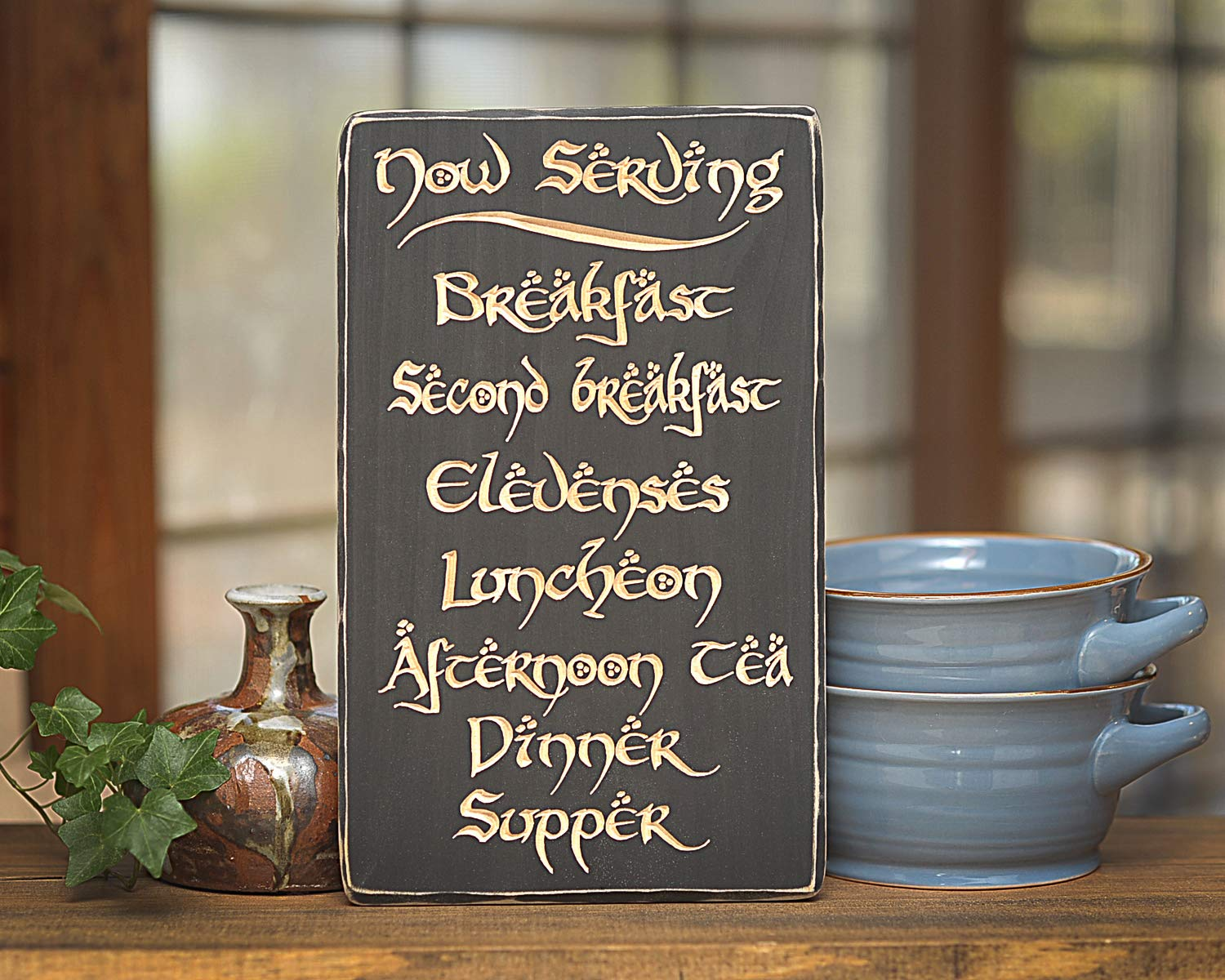 12'' x 7.25'' Hobbit Daily Meals Plaque/Sign Solid Wood Engraved by Distraction