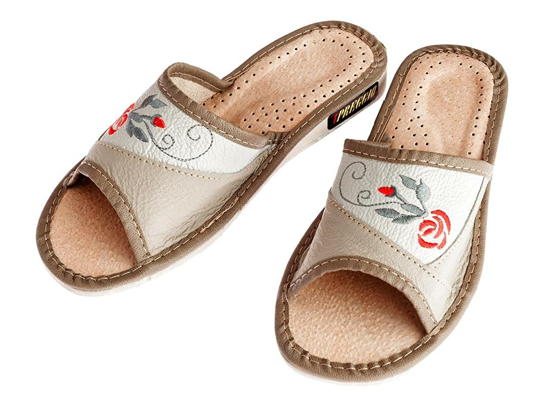 Apreggio Pantofole da Donna Pelle Suola in Gomma Confortevole Prodotto 100/% Naturale Fatto a Mano