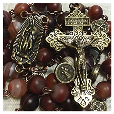 elegantmedical Handmade Carnelian Beads Antiqued Catholic St. Benedict Rosary Pardon Cross Necklace Gift: Arts, Crafts & Sewing