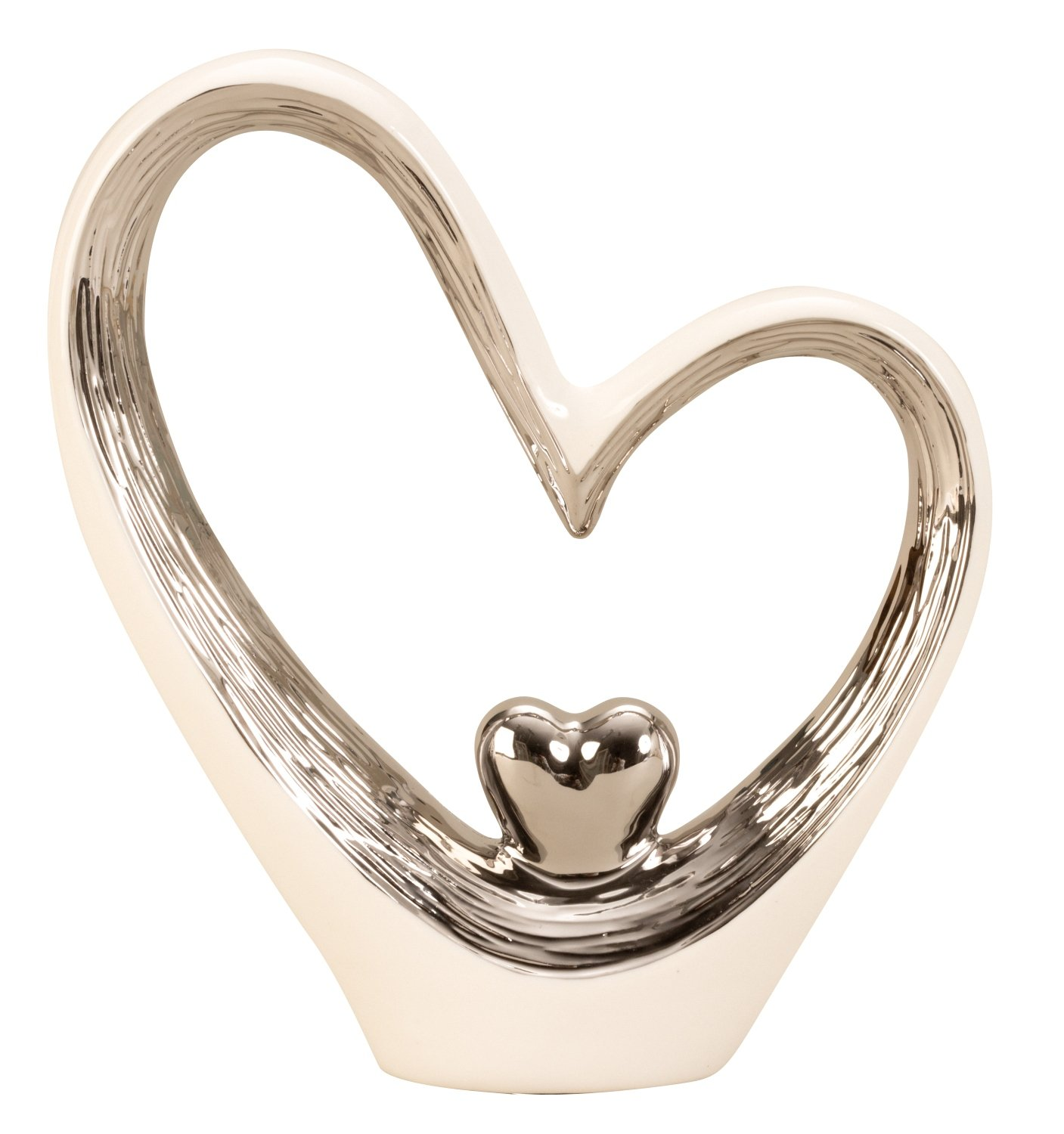 Lifestyle /& More Modern heart sculpture made of ceramic in white//silver Height 29,5 Width 25 cm