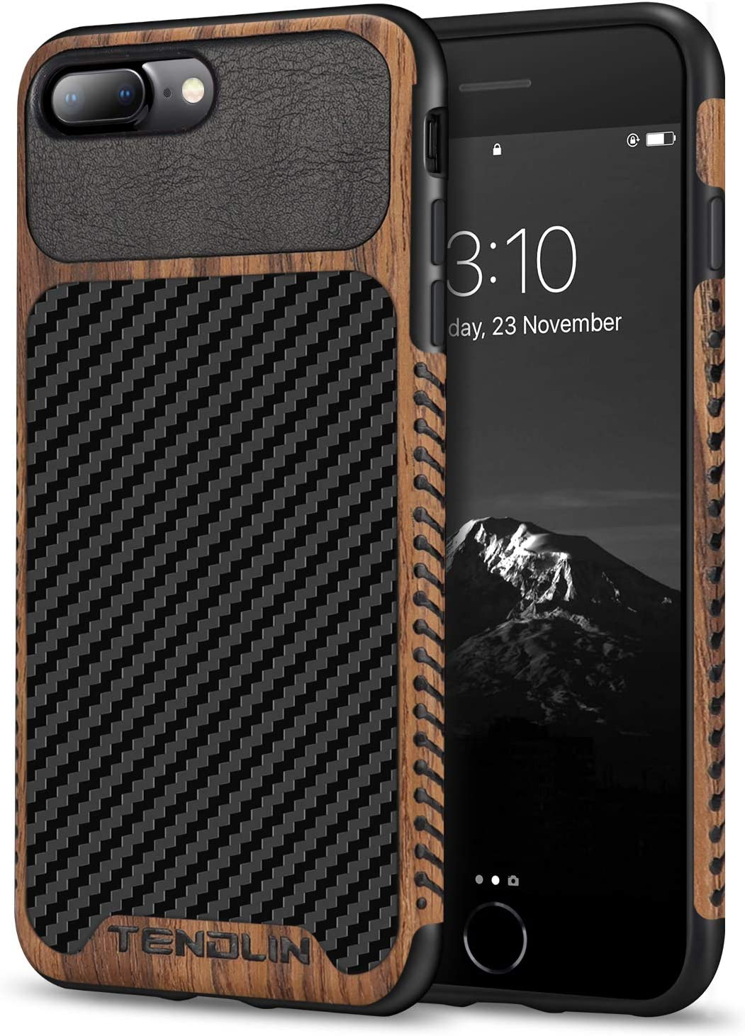 TENDLIN Compatible with iPhone 7 Plus Case/iPhone 8 Plus Case Wood Grain with Carbon Fiber Texture Design Leather Hybrid Slim Case Compatible with iPhone 7 Plus and iPhone 8 Plus (Carbon & Leather)