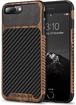 TENDLIN Coque iPhone 7 Plus/Coque iPhone 8 Plus avec Bois et Cuir de Fibre de Carbone TPU Silicone Hybrid Souple Coque Compatible avec iPhone 7 Plus ...