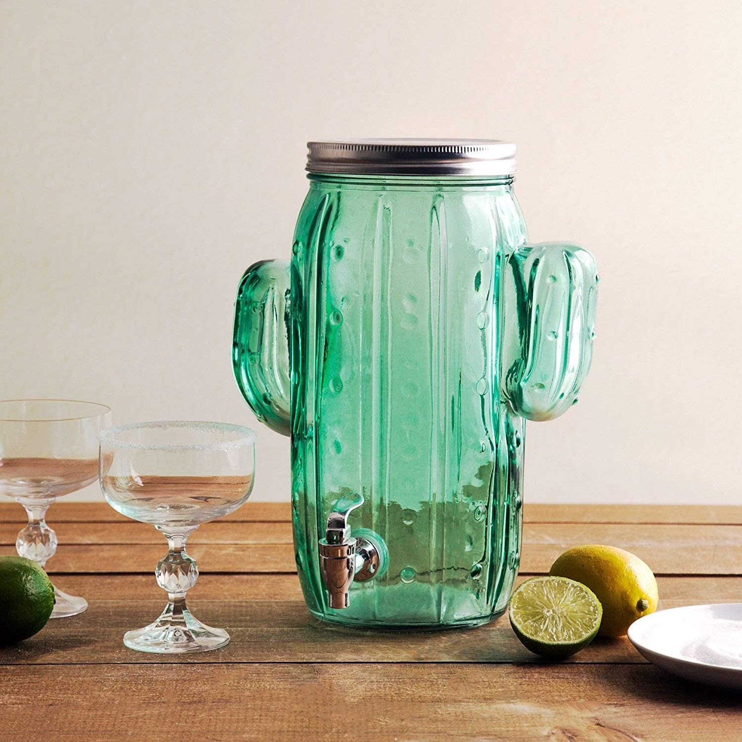 Homephile Beverage Drink Dispenser Glass Cactus One (1) Gallon Screw Lid with Easy Flow Spigot.