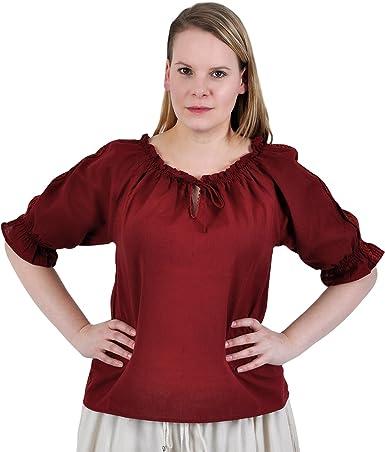 Blusa medieval - de mujer - manga corta - con encaje y ...