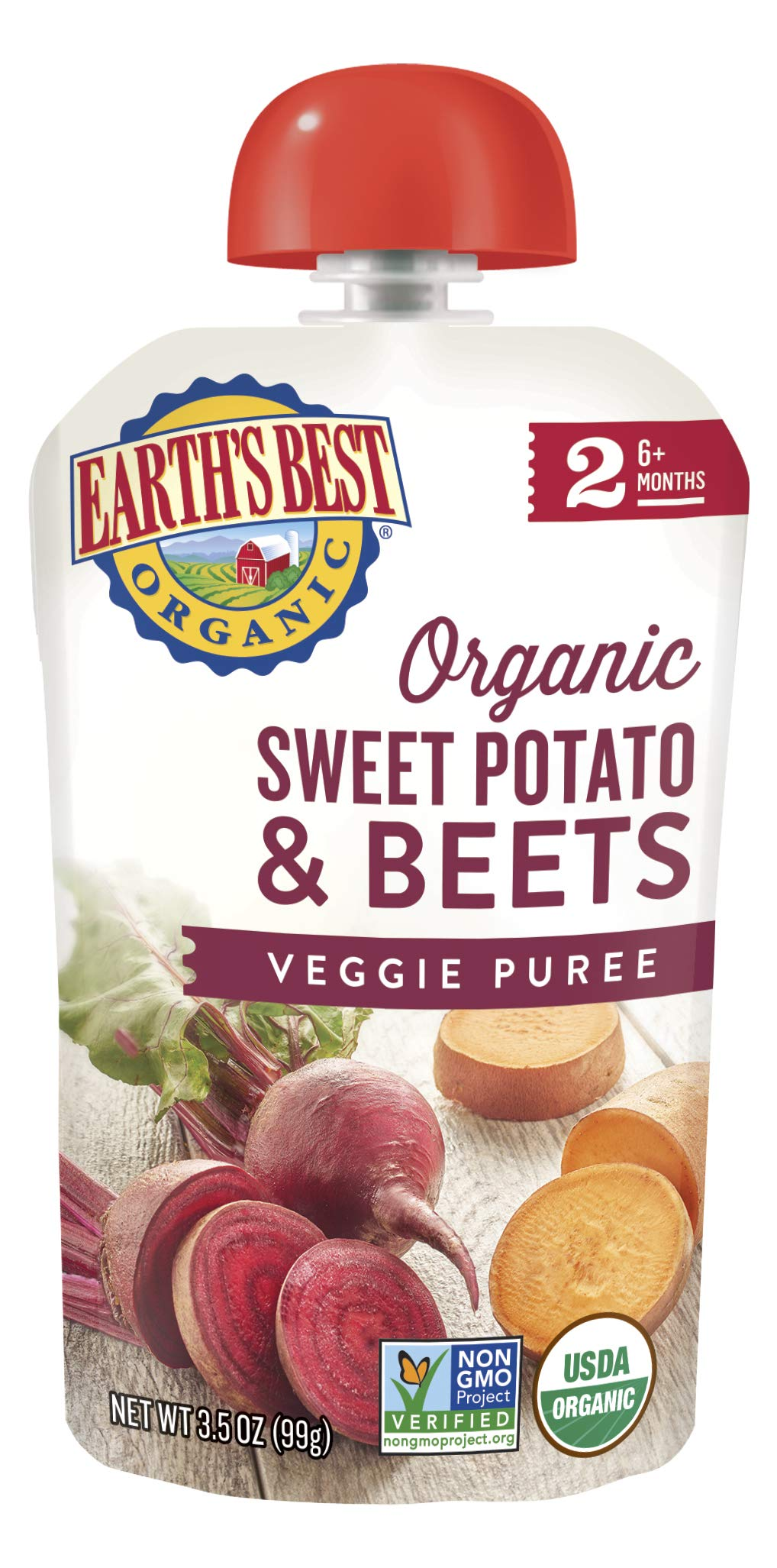 Earth's Best Organic Stage 2 Baby Food, Sweet Potato and Beets, 3.5 oz. Pouch (Pack of 12) by Earth's Best