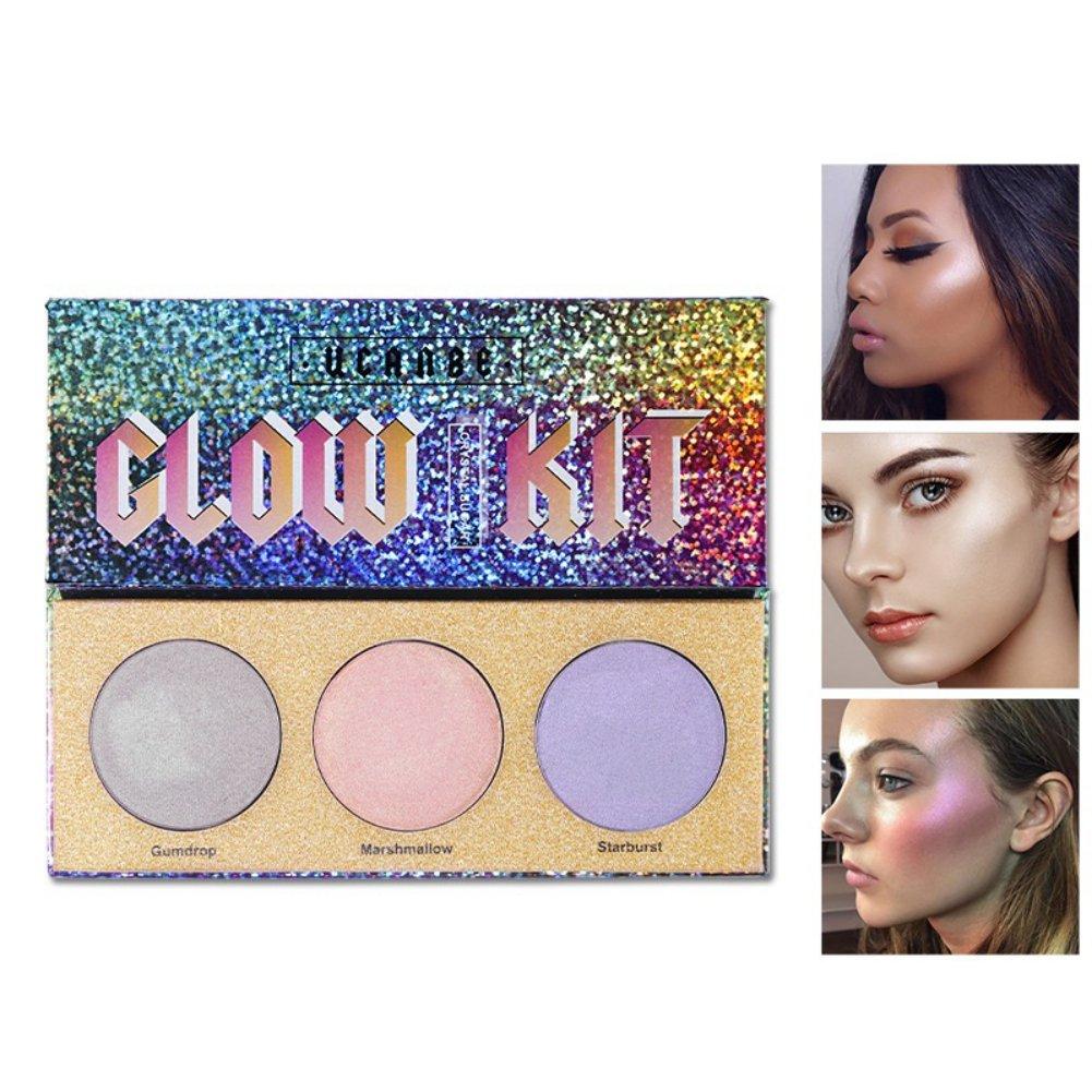 Allbesta Chameleon Highlighter, Makeup Palette, Bronzer Glow, Shimmer, Crystal, Sugar 3 Colours
