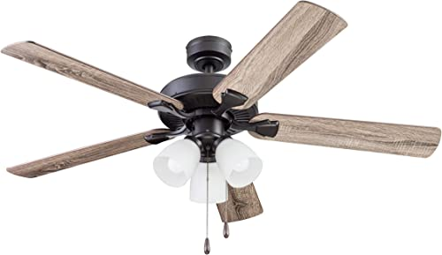 Portage Bay Ceiling Stannor 52 Bronze Indoor Fan with Frosted 3 Light LED Multi Arm E26 A15 Bulb and Pull-Chains, Traditional Style, 5 Reversible Barnwood Northern Ebony Blades, 51434