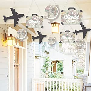 Hanging World Awaits - Outdoor Hanging Decor - Travel Themed Party Decorations - 10 Pieces