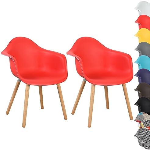 WOLTU® BH37rt 2 Esszimmerstühle 2er Set Esszimmerstuhl Mit Lehne Design  Stuhl Küchenstuhl Holz Rot