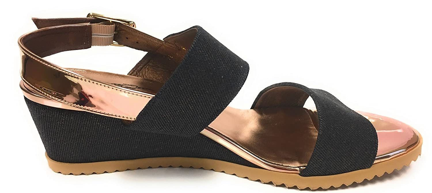 Brenda Zaro Adorable Wedge Sandal Spain B01NCOCGKS 41 M EU|Blue Denim Cloth With Gold Accents