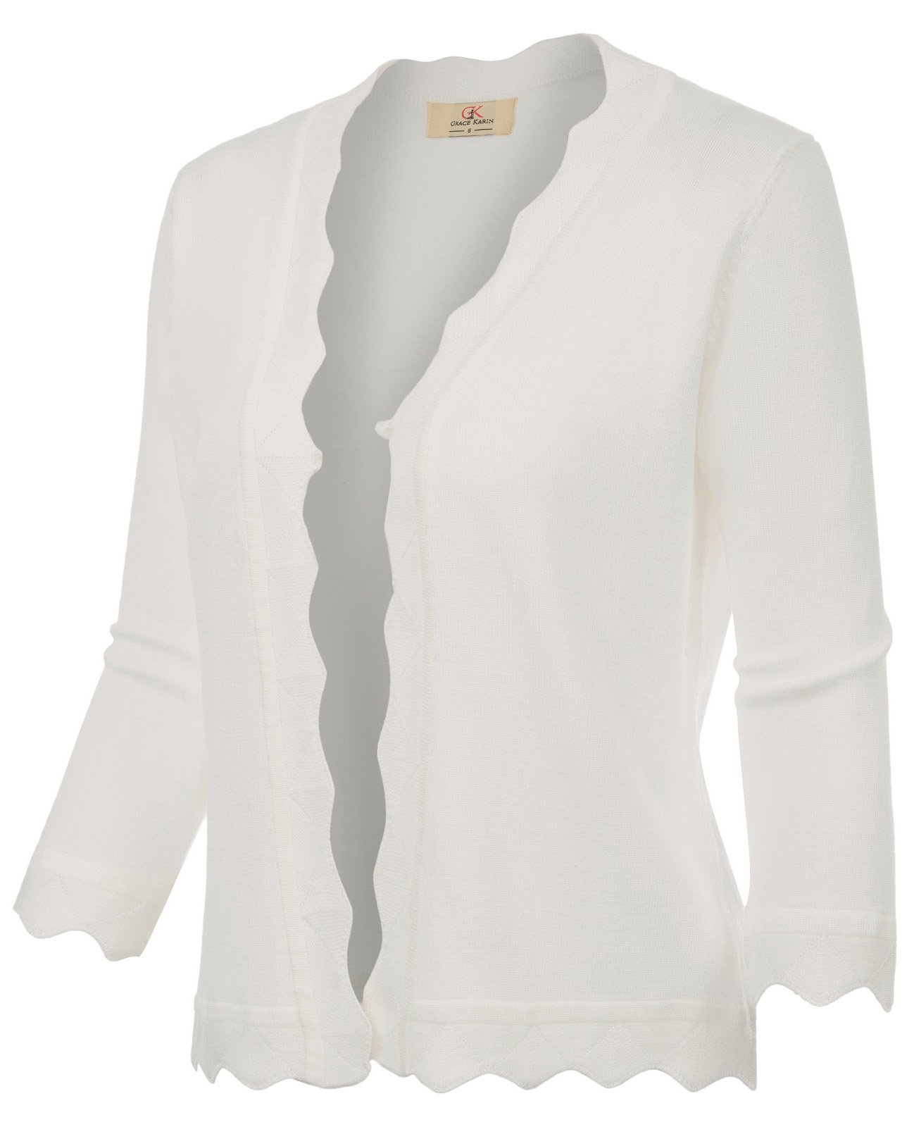 GRACE KARIN Office Cropped Knit Cardigan Jacket for Dress (XXL, Ivory 781)
