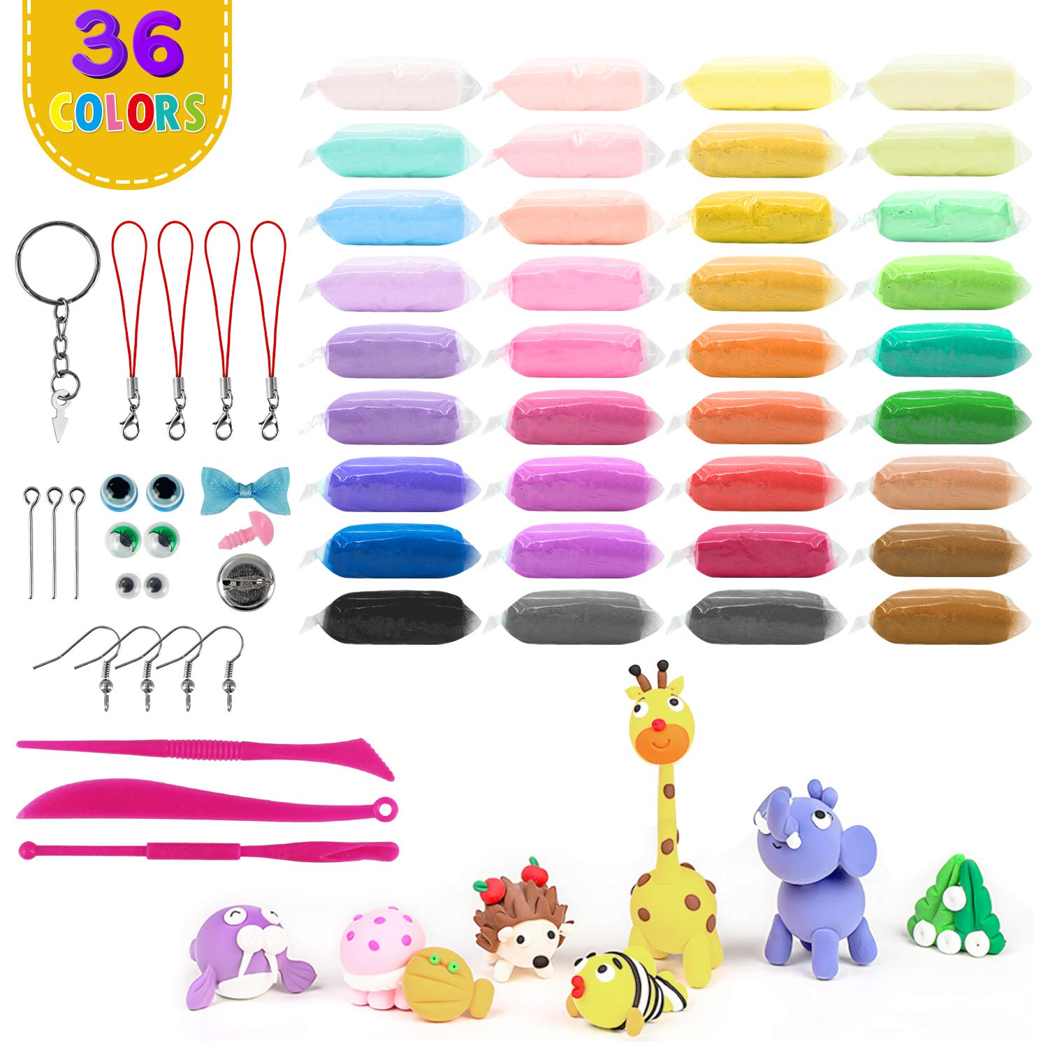 Includes Clay Dough Tools Modeling Clay Kits for Kids Non-Toxic Kids Clay Set Crafts for Kids Ideal Gift for Kids Tunnkit Modeling Clay Kit Air Dry Super Light Molding Magic Clay 36-Pack