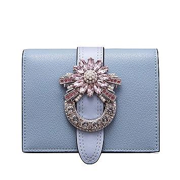 ZDD Cartera de Mano- Monedero de Terciopelo Retro Monedero Corto Bolso de Embrague Terciopelo Monedero Mujer (Color : Baby Blue, Tamaño : 11x8.5cm): ...