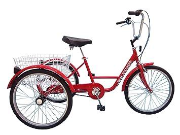 B+M Fitness Triciclo para Adultos - 24 Pulgadas, 3 Marchas Rojo - con Freno de contrapedal, Cesta y - Timbre para Bicicleta: Amazon.es: Deportes y aire ...