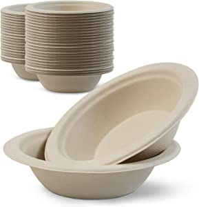 Green Earth, 12 oz, 1000-Count, Compostable Bowls, Natural Bamboo Fibers, Everyday Tableware - Biodegradable – Disposable - Round Shape - Microwave-Safe - Gluten-Free - Eco-Friendly