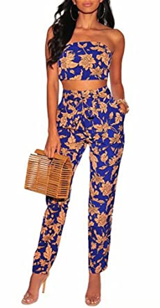 4e4a06752ee4 Women s Floral Two Piece Outfits Off Shoulder Crop Top and Pant Set  Strapless Floral Jumpsuit with
