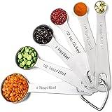 SKYROKU Measuring Spoons 18/8 Stainless Steel, Set of 6 for Dry and Liquid Ingredients