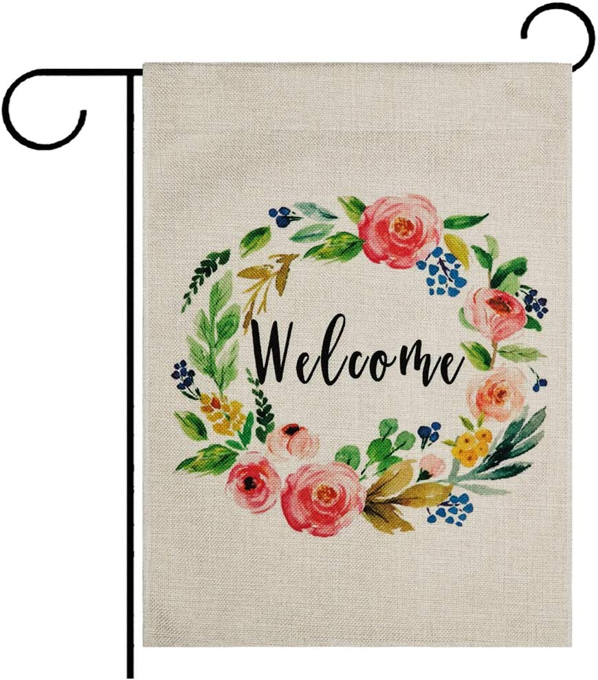 DOLOPL Summer Welcome Garden Flag 12.5x18 Inch Double Sided Decorative Wreath Small Yard Garden Flags for Outside Summer Outdoor Decorations