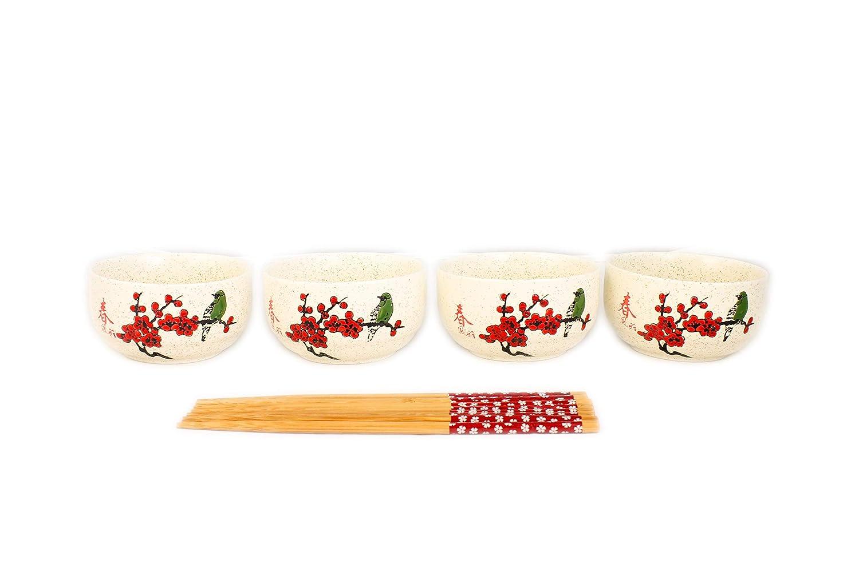 4 Ceramic Rice Bowls with Chopstick Set - Cherry Blossom