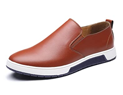 f228decf109 XMWEALTHY Men s Casual British Style Slip on Loafers Flats Business Dress  Shoes Brown US 6.5