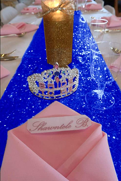 Sequin Table Runners 108 inches Royal Blue Wedding Decorations Pack of 10  Sequin Table Runner 12x108,inch Blue Christmas Table Decorations Clearance