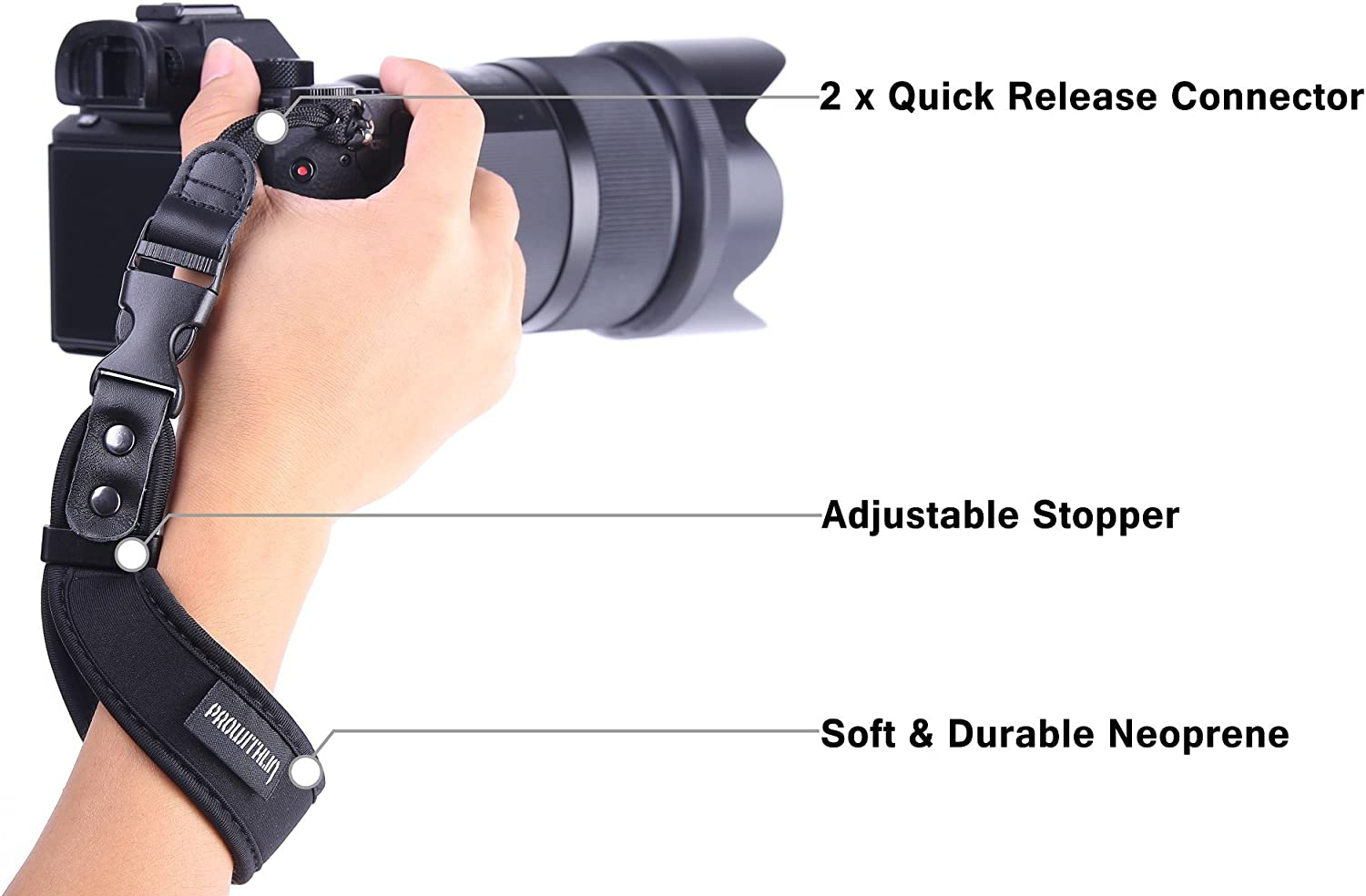 Neoprene Camera Hand Strap Durable Quick Release Grip Strap with Safety Tether for Canon Fujifilm Nikon Sony Pentax Olympus and More DSLR Mirrorless Point Shoot Cameras Zecti Camera Wrist Strap